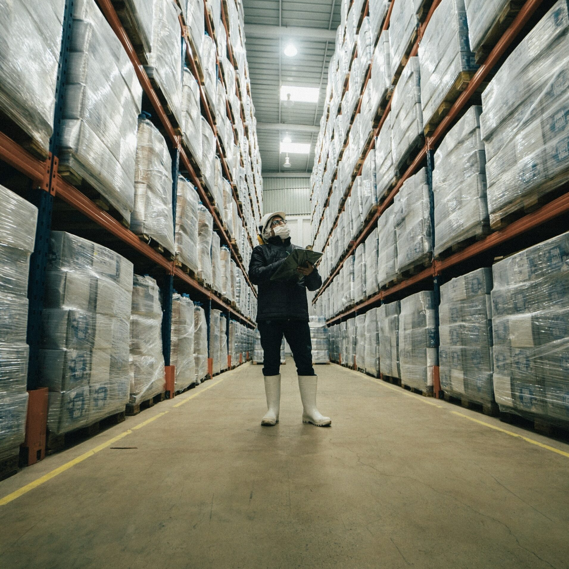 inspector reviewing a cannabis warehouse